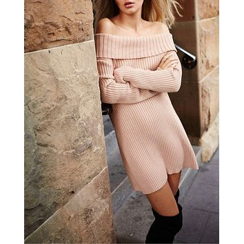 somedays lovin - like a melody knitted off the shoulder sweater dress