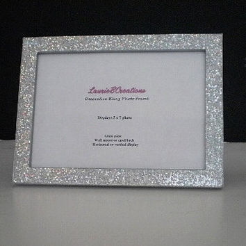 SILVER GLITTER FRAME - Sparkling Decorative Picture Frame for 4 x 6 or 5 x 7 photos or info