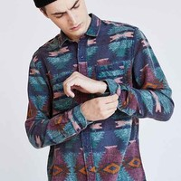 Stapleford Printed Flannel Button-Down Shirt- Plum