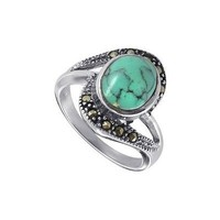 Sterling Silver Oval Shaped 10mm x 11mm Reconstituted Turquoise Stone Marcasite 3mm Band Ring Size 5