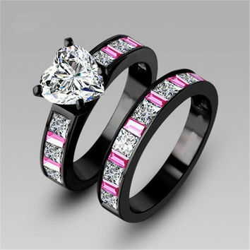 Heart Colorful princess cut AAA cz stone engagement ring wedding band set 18k black gold plated (With Thanksgiving&Christmas Gift Box)= 1932220612