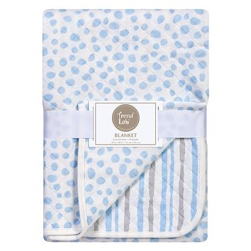 Baby Swaddle Blanket  - Blue and Gray Cloud Knitted Baby Blanket