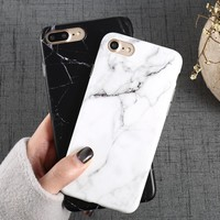 Luxury Marble Pattern i 8 Phone Cover Case For iPhone 8 Plus Soft TPU Back Cover For iPhone8 Plus Black Phone Accessories Coque
