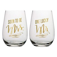 """SLANT COLLECTIONS """"SOON TO BE MRS,ONE LUCKY MR"""" STEMLESS WINE GLASS SET OF 2"""