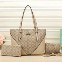 COACH new lady bag three-piece hit color stitching simple portable shoulder bag Apricot