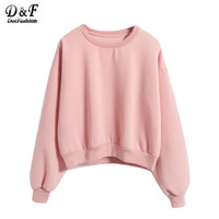 Dotfashion Ladies Round Neck Long Sleeve Pink Tops 2016 Fall New Style Cute Pullovers Loose Sweatshirt