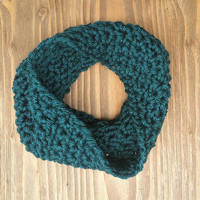Chunky Crochet Cowl, Women's One Size Large Crochet Infinity Scarf, Squishy and Warm Teal Blue Neckwarmer, Ready to Ship