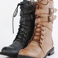Ankle Wrap Combat Boots  by Kimani Couture Boutique