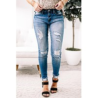 Eva Brielle Distressed Ankle Skinny Jeans