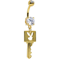 Licensed Clear Gem Gold Plated Playboy Bunny Key Dangle Belly Ring | Body Candy Body Jewelry