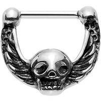 """16 Gauge 5/16"""" Deadly Detailed Skull with Wings Hinged Septum Clicker"""
