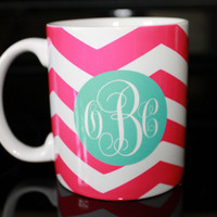 Coffee Mug - Pink Chevron with Monogram Coffee Mug - Custom Coffee Mug - Personalized Mug