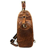 Vere Gloria Mens Leather Crossbody Bag Multi-purpose Front & Back Pack Small Size