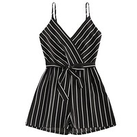 Black White Stripes Ribbon Belt Women Jumpsuit Romper