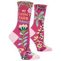 Hi, I Don't Care, Thanks Women's Crew Socks, Hipster/Nerdy/Geeky/Trendy, Pink Funny Novelty Socks with Cool Design, Bold/Crazy/Unique Specialty Dress Socks