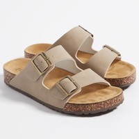 Taupe Strappy Buckle Slides