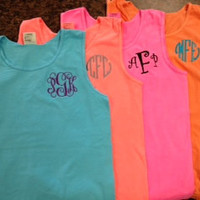 Monogrammed Comfort Color Tank Top -Great for Graduation, Beach Cover ups, spring break, Wedding Parties, Greeks, and women of All Ages