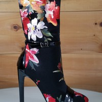 "Black Red Floral Almond Toe Ankle Boot Full Side Zipper 4"" High Heels"