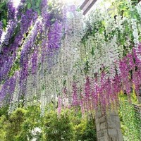 New Artificial Flower Wisteria Home Garden Hanging Flowers Vine Wedding Plant Decor [7981680711]