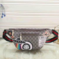 GUCCI Women Leather Waist Bag Single-Shoulder Bag