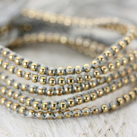 Friendship Bracelet | One Boho Macrame Gold & Grey | Layered Bracelets | Adjustable | Handmade Bohemian Gypsy Style | Christina Guenther