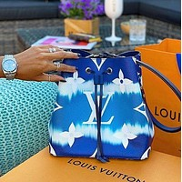 LV Louis Vuitton Cloud Print Letter Gradient Drawstring Bucket Bag Messenger Bag Shopping Bag Shoulder Bag
