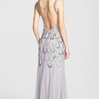 Adrianna Papell Beaded Backless Mesh Gown