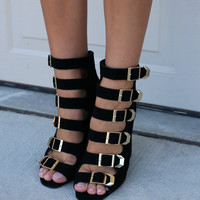 Hold On Black Buckle Peep Toe Heels