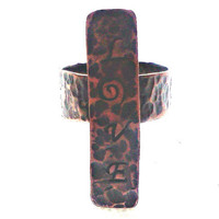 """Handmade copper cross ring, hammered, oxidised copper, handstamped word """"love"""", unique statement ring"""
