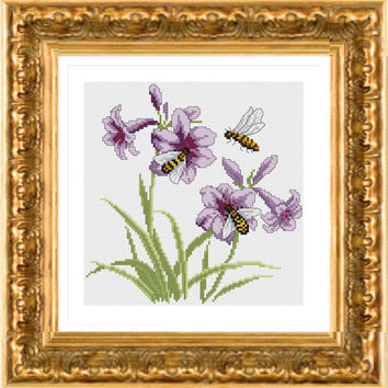 Orchids Bees, Modern Cross Stitch Pattern PDF, Instant download