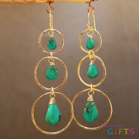 """Hammered circles with green turquoise, 3"""" Earring Gold Or Silver"""