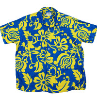 Vintage 1980s Hawaiian Shirt Blue/Yellow Made in Japan Mens Size Large
