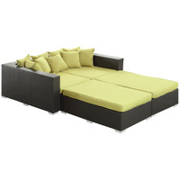 Palisades 4 Piece Outdoor Patio Daybed in Espresso Peridot