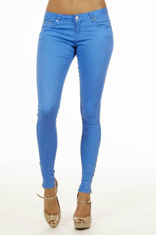 Image of Blue Ankle Zipper Skinny Jeans