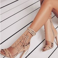 Roman Buckle Strap Shoes Women Sandals Sexy Gladiator Lace Up Peep Toe High Heel
