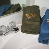 Legend of Zelda Royal Crest Embroidered Plush Hand Towel In Olive, Aqua and Black with Gold or Silver