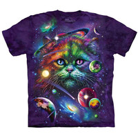 The Mountain COSMIC CAT Face T-Shirt Space Stars Kitten Planets Sizes S-5XL NEW!