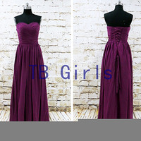 Grape Sweetheart Long Bridesmaid Dresses, Blue Chiffon Prom Dress, Pleats Floor Length Prom Dress, Homecoming Dress, Wedding Party Dress