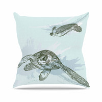 "Sam Posnick ""Sea Turtles"" Green Blue Throw Pillow"