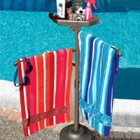 """55"""" Bronze Outdoor Summer Pool and Spa Accessories Tray and Beach Towel Holder"""