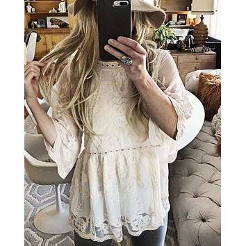 Tainted Rose Lace Top in White
