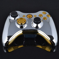 Chrome Silver modded Full Shell Gold Buttons for Xbox 360 Wireless Controller (Size: 15.5 cm * 11 cm * 4 cm, Color: Silver) = 1946660356