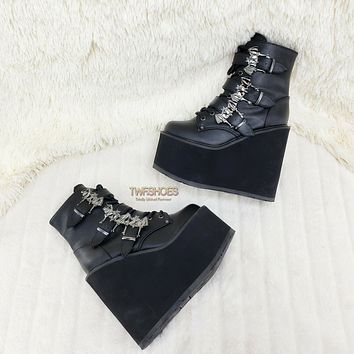 """Swing 103 Bat Buckle Ankle Boots 5.5"""" Platform Goth Rave Boot NY Restocked"""