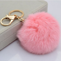 Cute Genuine Leather Rabbit fur ball plush key chain for car key ring Bag Pendant car keychain = 1931430724