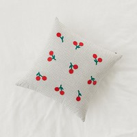 Embroidered Cherry Microcheck Throw Pillow | Urban Outfitters