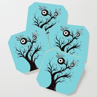 Excited Tree Monster Ink Drawing Coaster by borianagiormova