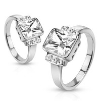 Joyful - FINAL SALE Polished Stainless Steel Radiant Cut White Solitaire Cubic Zirconia Studded Engagement Ring