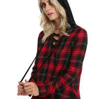 Red Plaid Velvet Lace-Up Hoodie