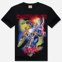 Black 3D Iron Maiden Print Short Sleeve Graphic T-Shirt