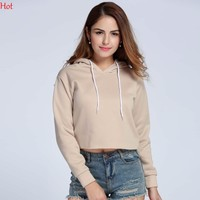 Long-Sleeved Cropped Hoodie